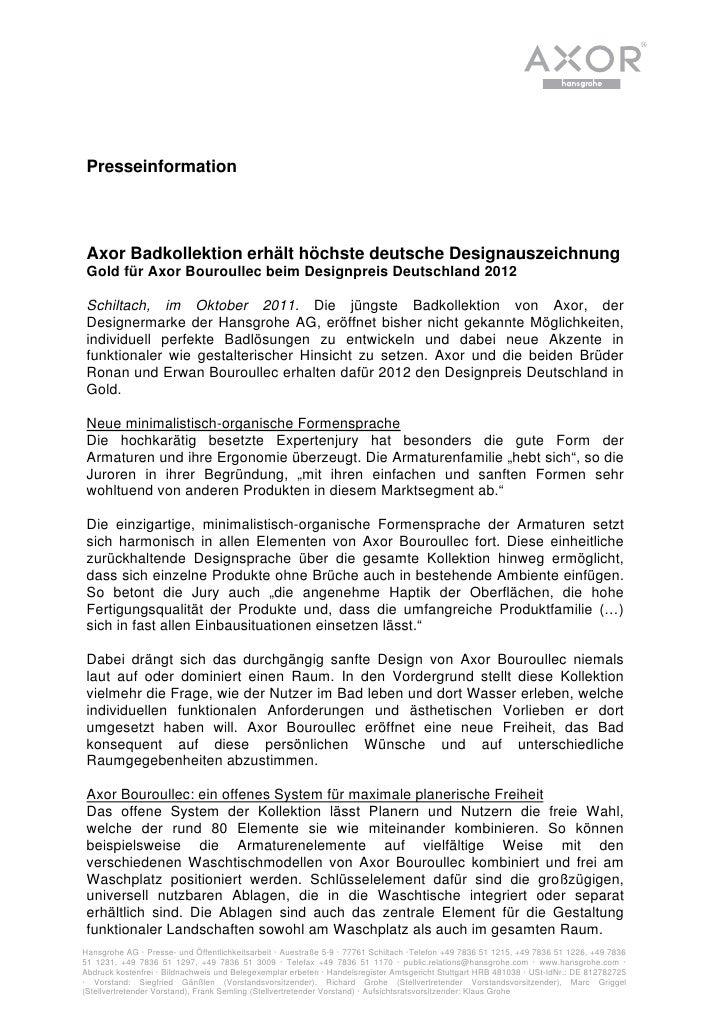 Presseinformation Axor Badkollektion erhält höchste deutsche Designauszeichnung Gold für Axor Bouroullec beim Designpreis ...