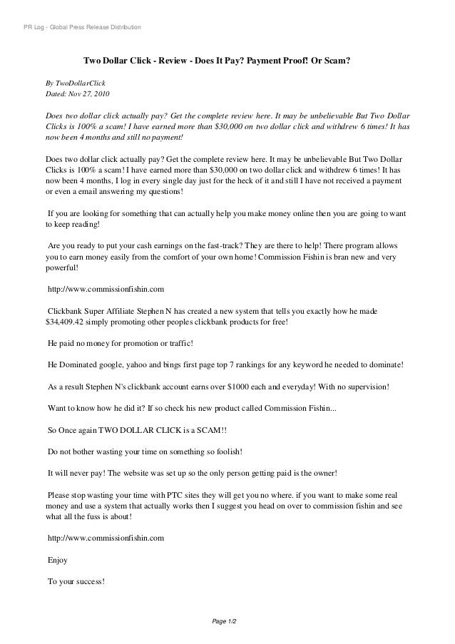 PR Log - Global Press Release Distribution Two Dollar Click - Review - Does It Pay? Payment Proof! Or Scam? By TwoDollarCl...