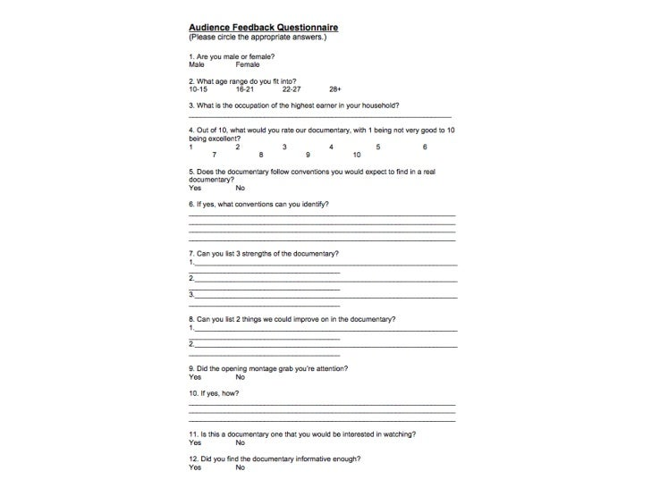 Audience Feedback Questionnaire
