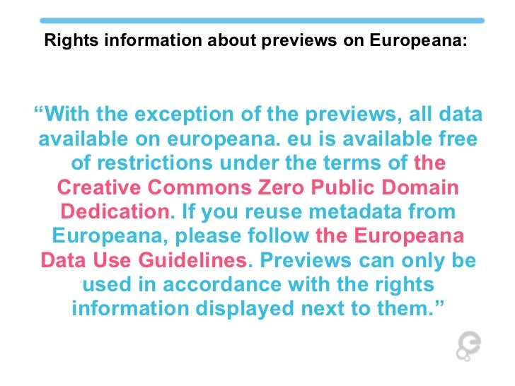 Main Aspects Of The Europeana Data Exchange Agreement