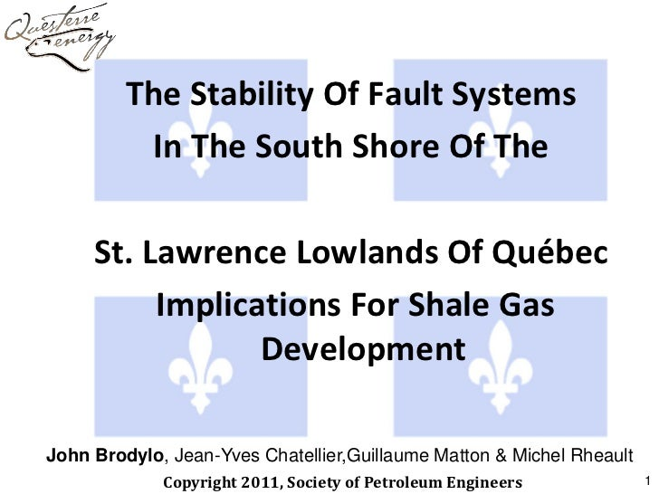 The Stability Of Fault Systems          In The South Shore Of The     St. Lawrence Lowlands Of Québec          Implication...