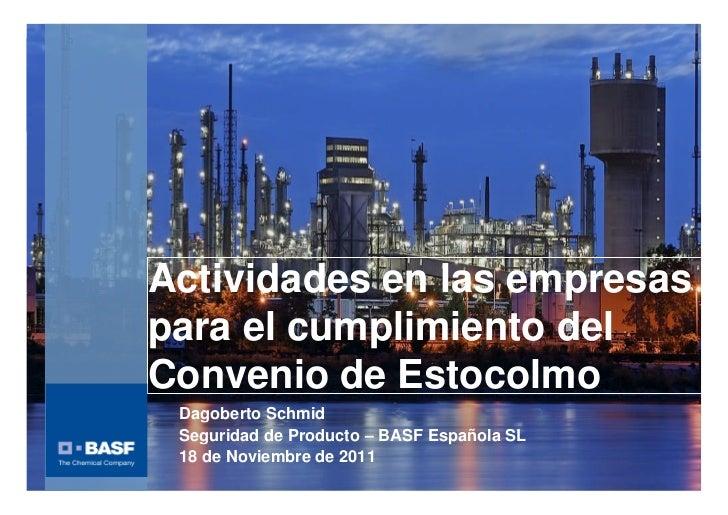 Actividades en las empresas                        para el cumplimiento del                        Convenio de Estocolmo  ...