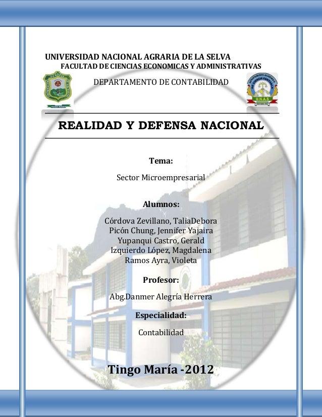 UNIVERSIDAD NACIONAL AGRARIA DE LA SELVA   FACULTAD DE CIENCIAS ECONOMICAS Y ADMINISTRATIVAS          DEPARTAMENTO DE CONT...