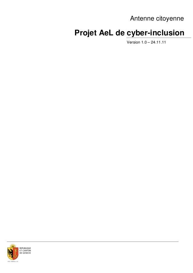 Antenne citoyenneProjet AeL de cyber-inclusion             Version 1.0 – 24.11.11
