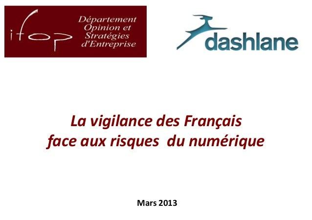 La vigilance des Français    face aux risques du numérique               Mars 20131