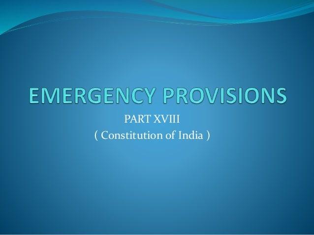 PART XVIII ( Constitution of India )