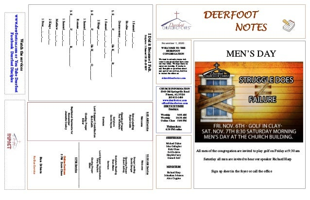 DEERFOOTDEERFOOTDEERFOOTDEERFOOT NOTESNOTESNOTESNOTES November 1, 2020 WELCOME TO THE DEERFOOT CONGREGATION We want to ext...