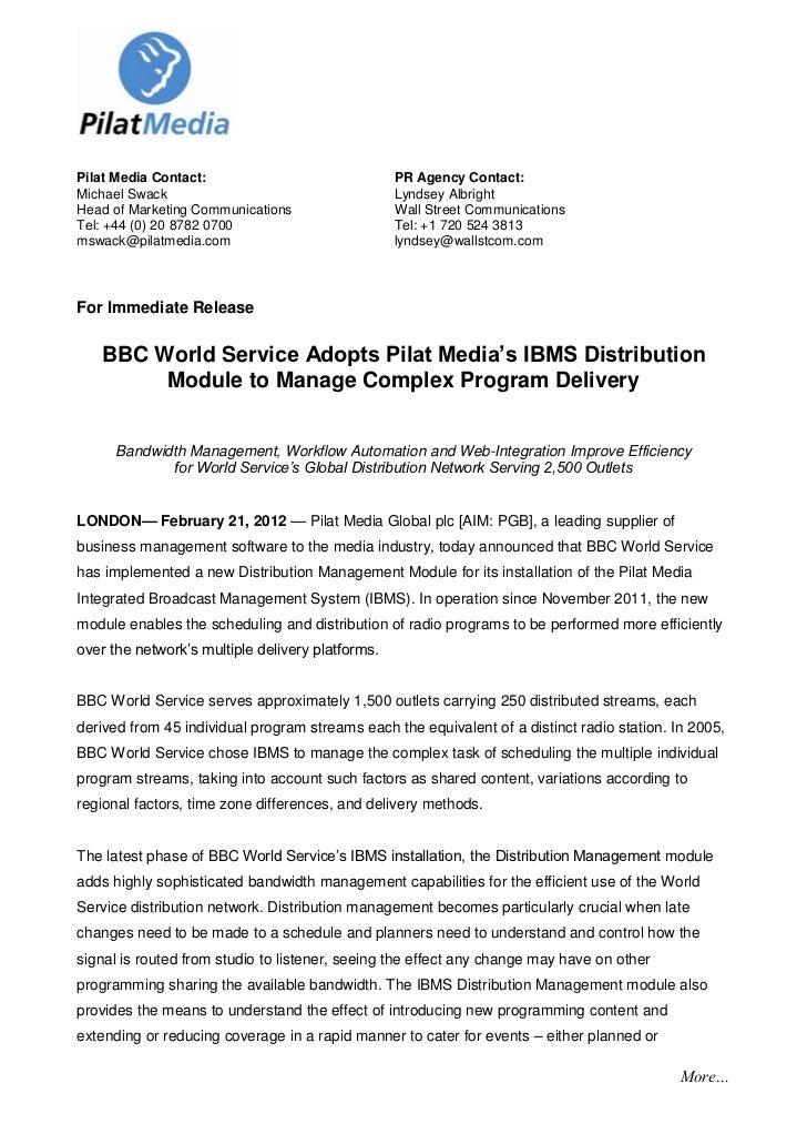 d7d7060c9c3 BBC World Service Adopts Pilat Media's IBMS Distribution Module to Ma…