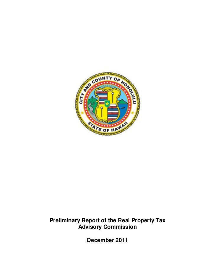 Preliminary Report of the Real Property Tax          Advisory Commission             December 2011