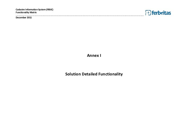 Cadastre Information System (FBSIC)Functionality Matrix___________________________________________________________________...