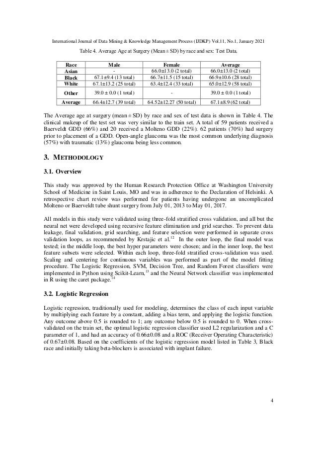 International Journal of Data Mining & Knowledge Management Process (IJDKP) Vol.11, No.1, January 2021 4 Table 4. Average ...