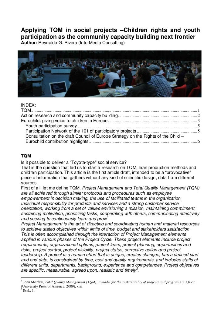 Applying TQM in social projects –Children rights and youthparticipation as the community capacity building next frontierAu...