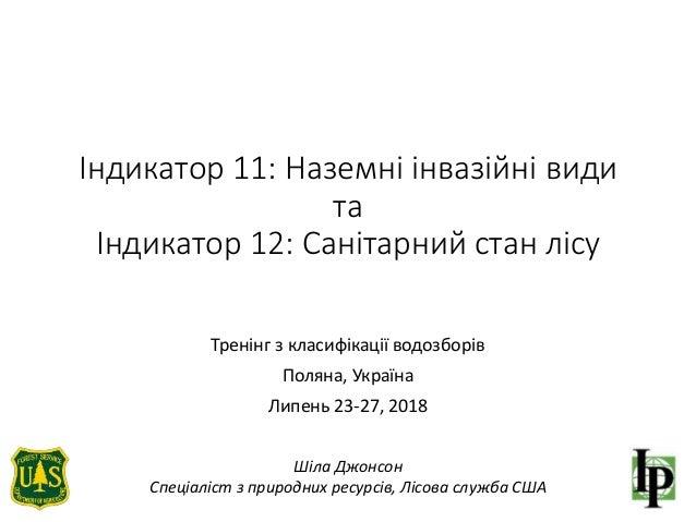 Індикатор 11: Наземні інвазійні види та Індикатор 12: Санітарний стан лісу Тренінг з класифікації водозборів Поляна, Украї...