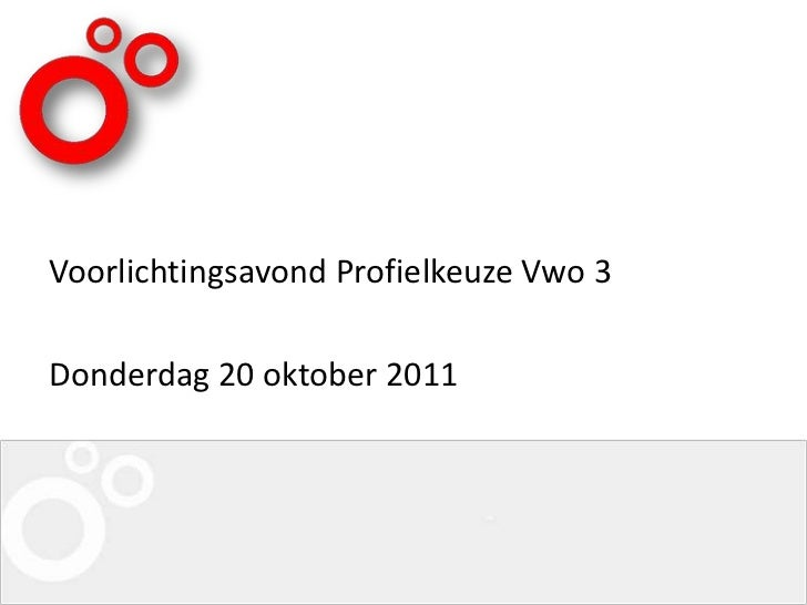 Voorlichtingsavond Profielkeuze Vwo 3Donderdag 20 oktober 2011