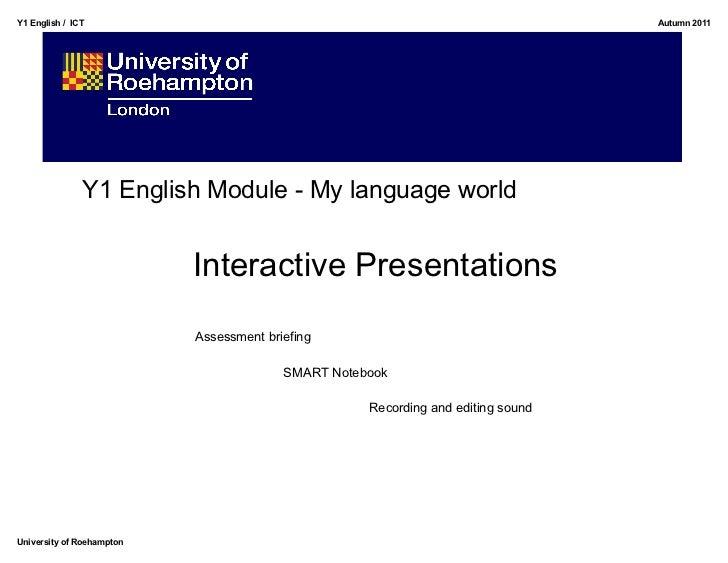 Y1 English / ICT                                                                  Autumn 2011               Y1 English Mod...