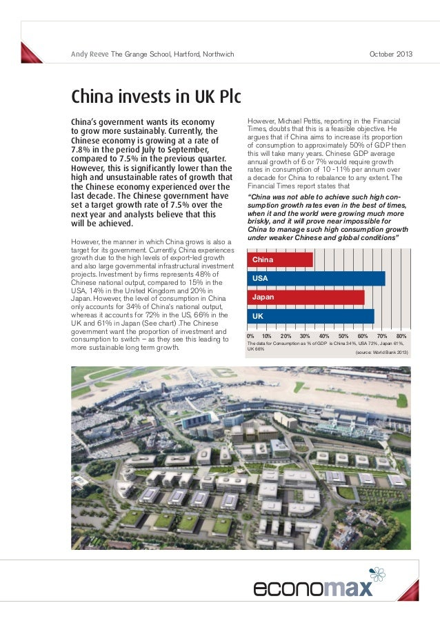 Andy Reeve The Grange School, Hartford, Northwich  October 2013  China invests in UK Plc China's government wants its econ...