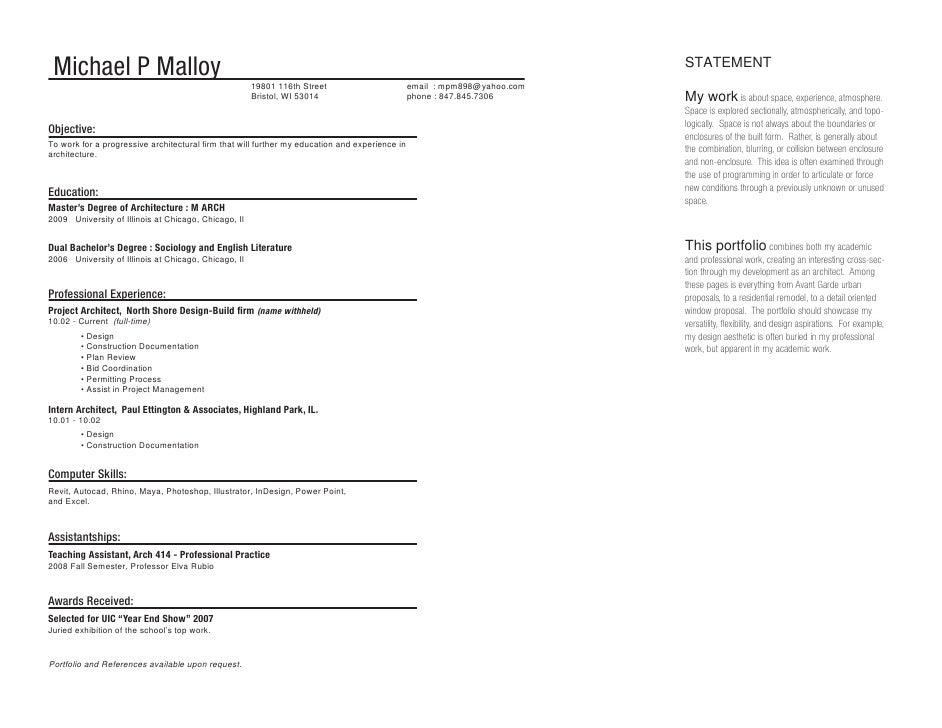 Malloy Architecture Portfolio - Associates degree in architecture