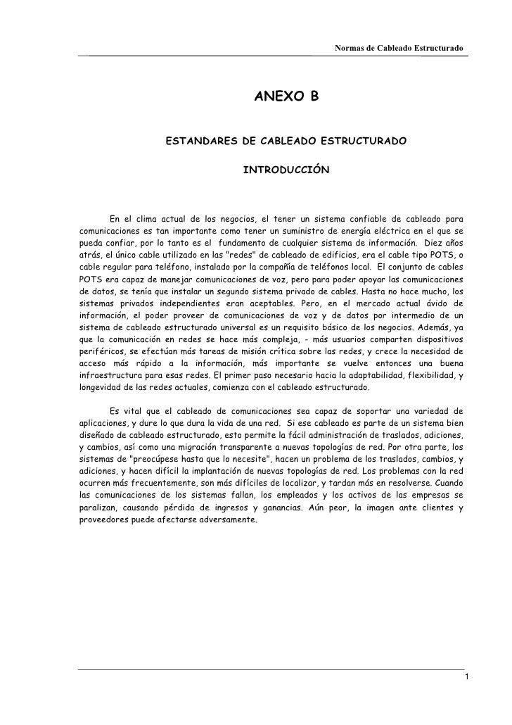 Normas de Cableado Estructurado                                            ANEXO B                      ESTANDARES DE CABL...