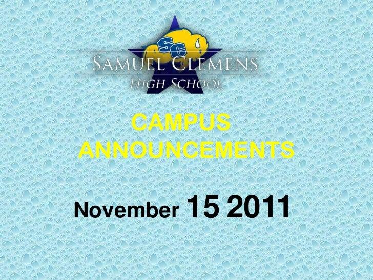 CAMPUSANNOUNCEMENTSNovember 15 2011