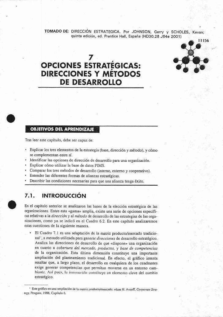 Opciones Estratégicas: Direcciones y Métodos de Desarrollo