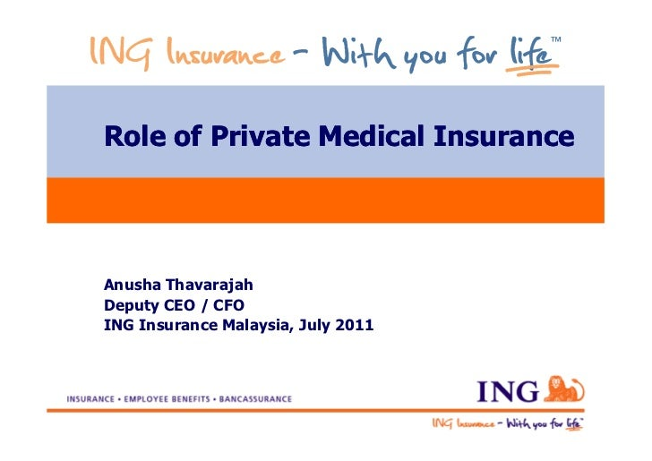 Role of Private Medical InsuranceAnusha ThavarajahDeputy CEO / CFOING Insurance Malaysia, July 2011