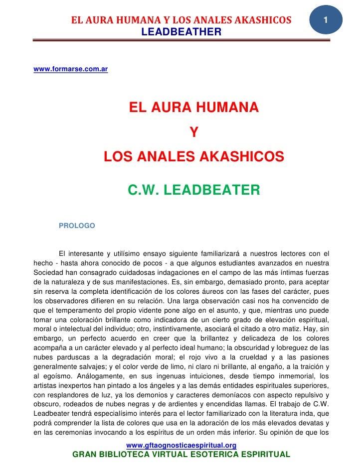 EL AURA HUMANA Y LOS ANALES AKASHICOS                                               1                       LEADBEATHERwww...