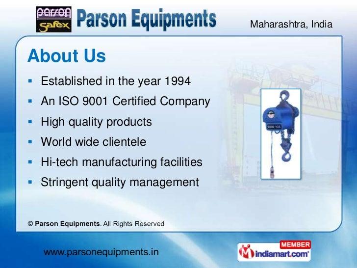 Material Handling Equipment by Parson Equipments, Mumbai  Slide 2