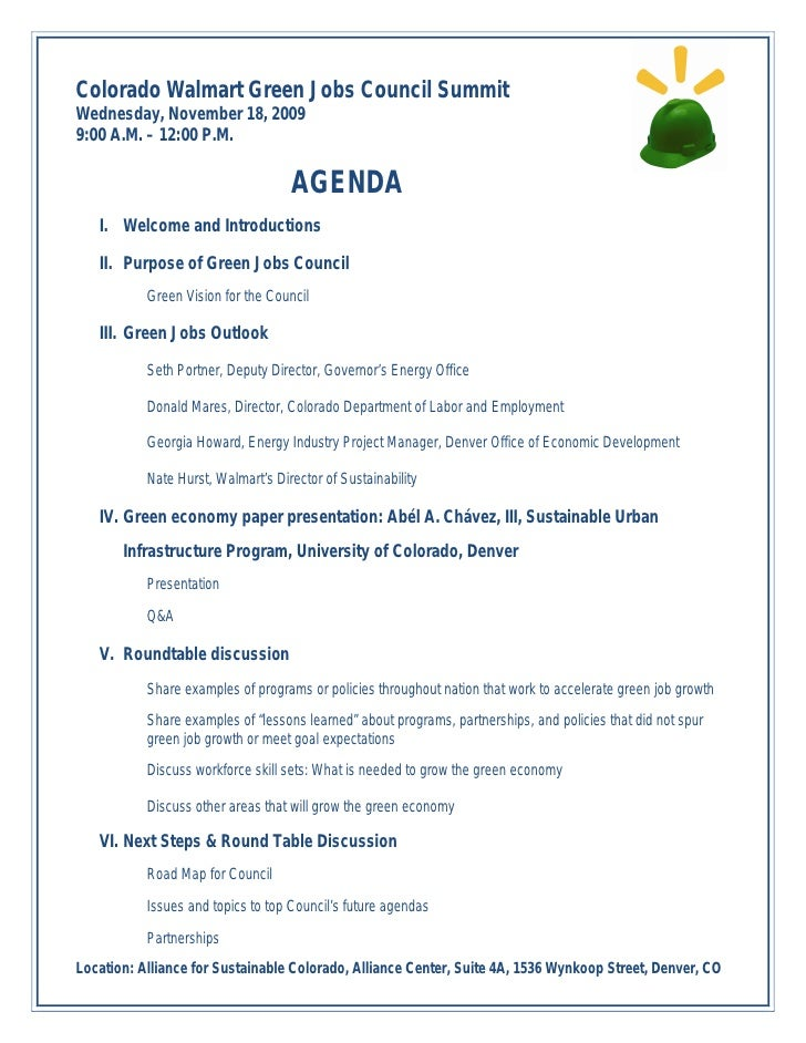 Colorado Walmart Green Jobs Council Summit Wednesday, November 18, 2009 9:00 A.M. – 12:00 P.M.                            ...