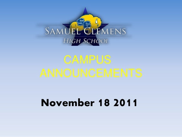 CAMPUS ANNOUNCEMENTS November 18 2011