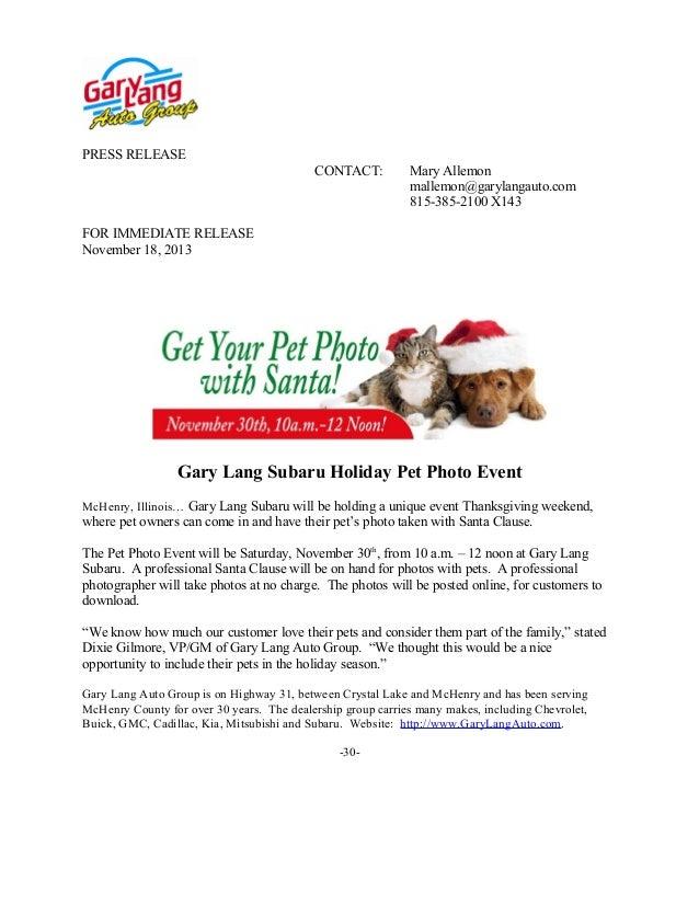 PRESS RELEASE CONTACT:  Mary Allemon mallemon@garylangauto.com 815-385-2100 X143  FOR IMMEDIATE RELEASE November 18, 2013 ...