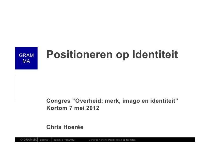 """GRAM MA                    Positioneren op Identiteit                    Congres """"Overheid: merk, imago en identiteit""""    ..."""