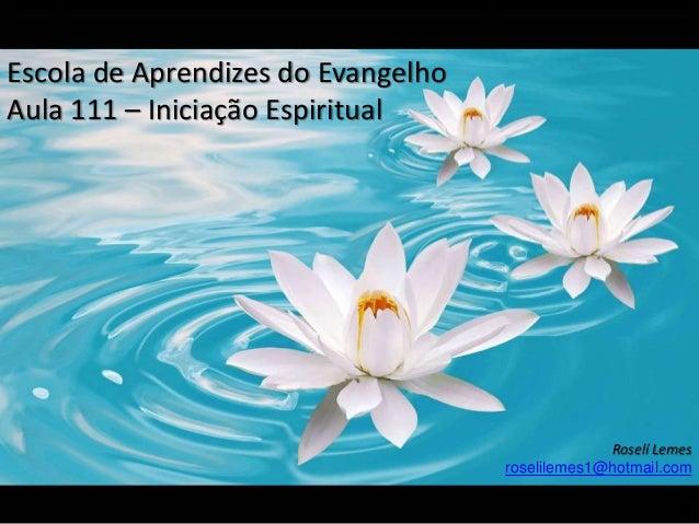 Escola de Aprendizes do Evangelho Aula 111 – Iniciação Espiritual Roselí Lemes roselilemes1@hotmail.com