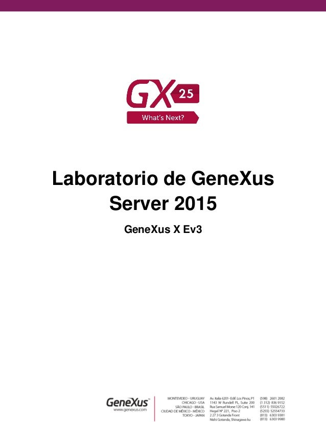 Laboratorio de GeneXus Server 2015 GeneXus X Ev3