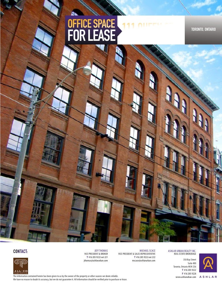 OFFICE SPACE 111 QUEEN ST. E.                                                              FOR LEASE                      ...