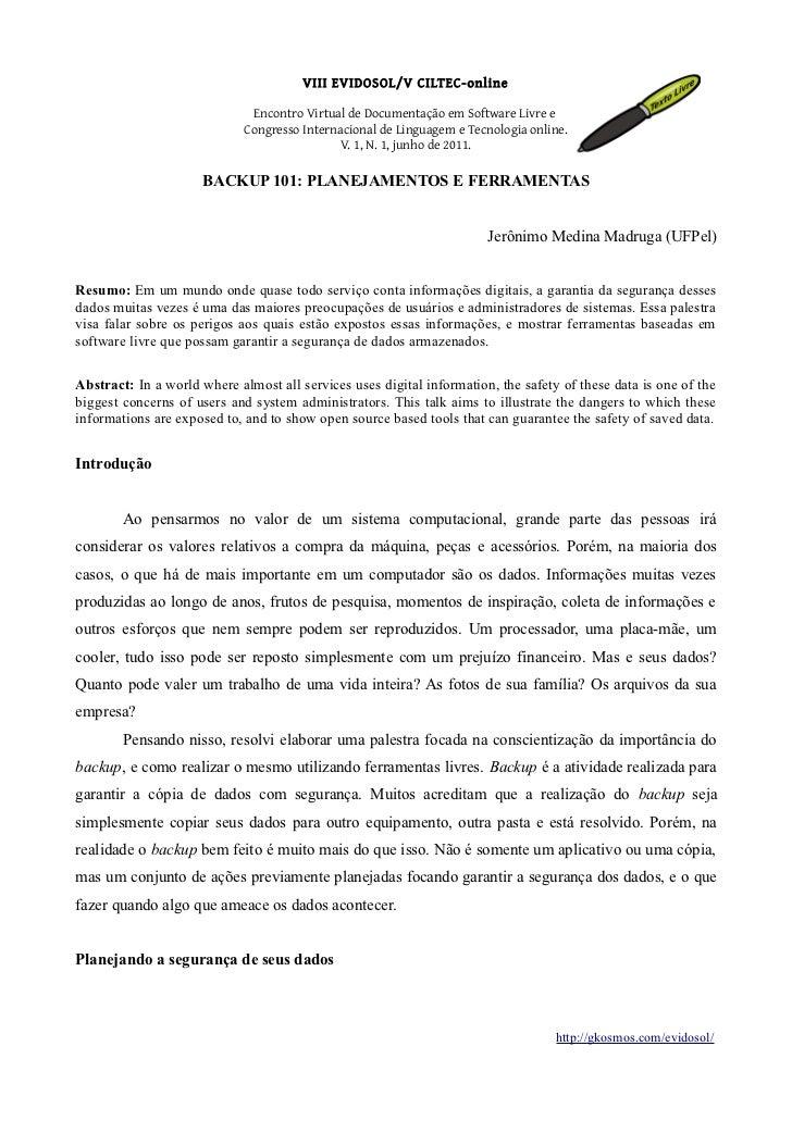 VIII EVIDOSOL/V CILTEC-online                              Encontro Virtual de Documentação em Software Livre e           ...