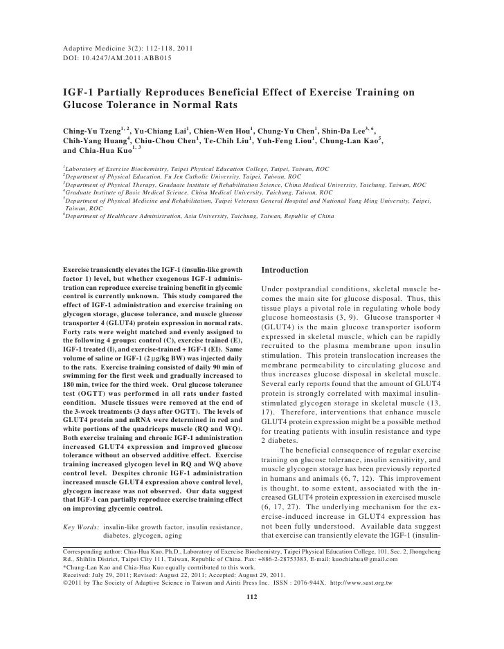 Adaptive Medicine 3(2): 112-118, 2011DOI: 10.4247/AM.2011.ABB015IGF-1 Partially Reproduces Beneficial Effect of Exercise T...