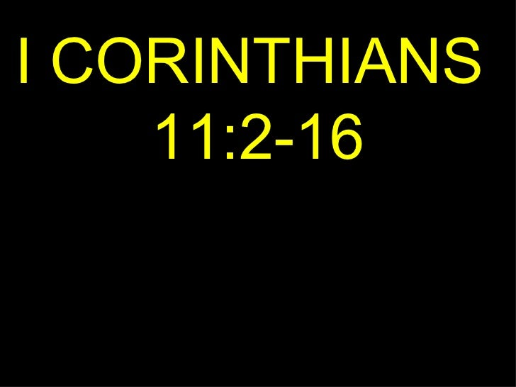 I CORINTHIANS  11:2-16