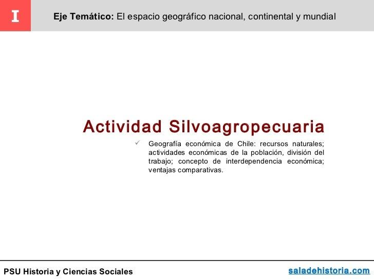I          Eje Temático: El espacio geográfico nacional, continental y mundial                   Actividad Silvoagropecuar...