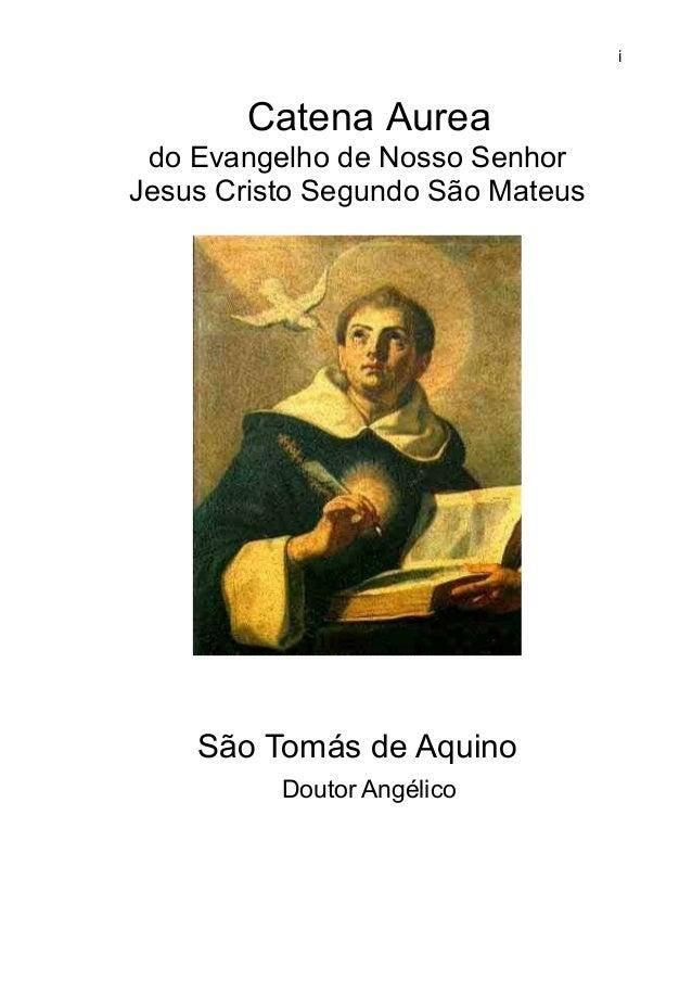 i Catena Aurea do Evangelho de Nosso Senhor Jesus Cristo Segundo São Mateus São Tomás de Aquino Doutor Angélico