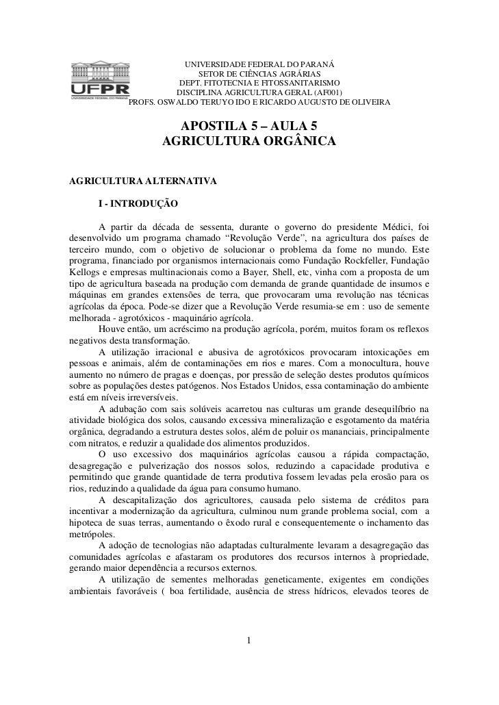 UNIVERSIDADE FEDERAL DO PARANÁ                             SETOR DE CIÊNCIAS AGRÁRIAS                         DEPT. FITOTE...