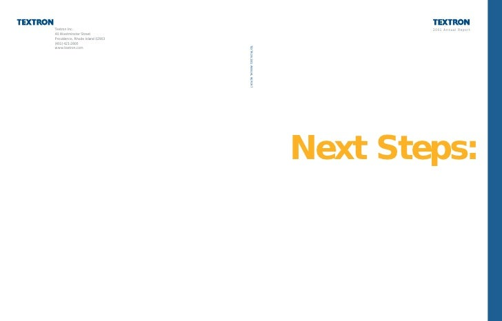 2001 Annual Report     Next Steps: