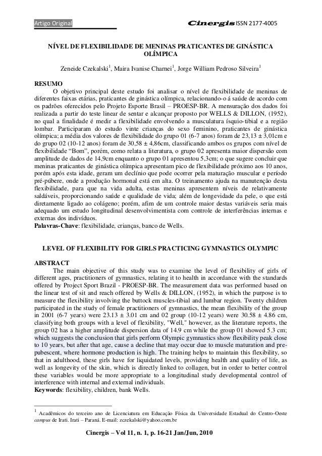 Artigo Original                                               Cinergis ISSN 2177-4005     NÍVEL DE FLEXIBILIDADE DE MENINA...