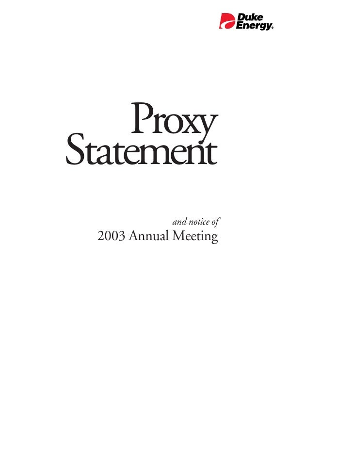 Proxy Statement             and notice of  2003 Annual Meeting