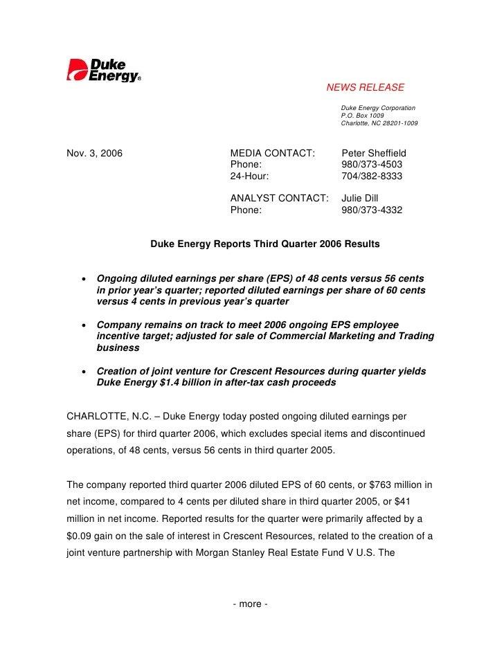 NEWS RELEASE                                                                   Duke Energy Corporation                    ...