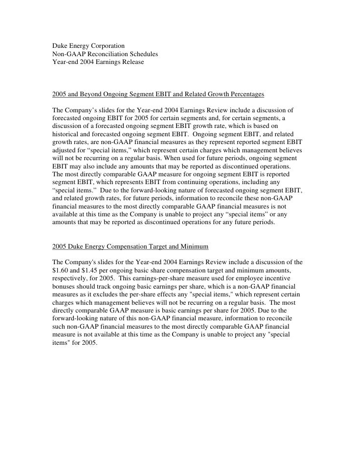 Duke Energy Corporation Non-GAAP Reconciliation Schedules Year-end 2004 Earnings Release    2005 and Beyond Ongoing Segmen...