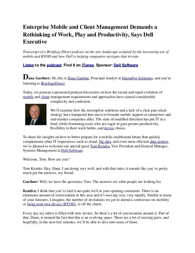 Enterprise Mobile and Client Management Demands a Rethinking of Work, Play and Productivity, Says Dell Executive Transcrip...