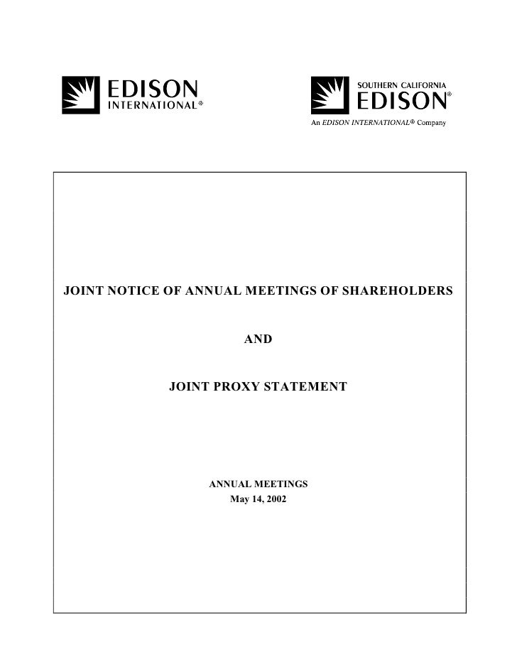 JOINT NOTICE OF ANNUAL MEETINGS OF SHAREHOLDERS                         AND               JOINT PROXY STATEMENT           ...