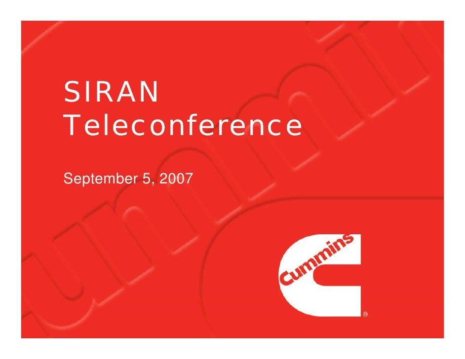 SIRAN Teleconference September 5, 2007