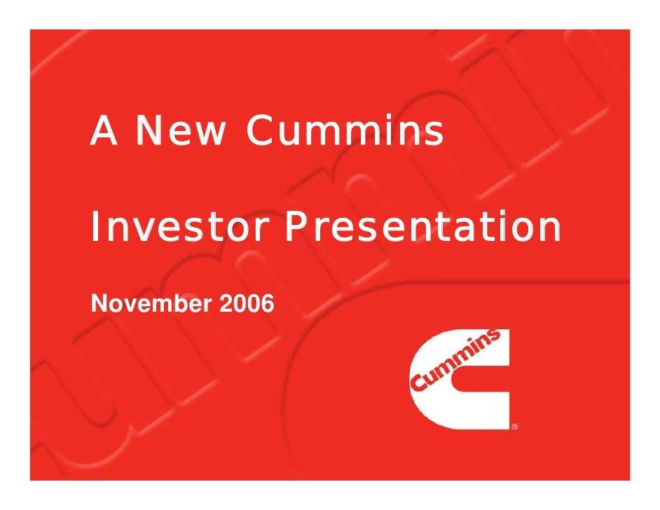 A New Cummins  Investor Presentation November 2006