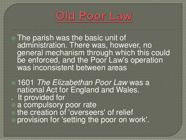 elizabethan poor law act of 1601